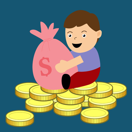 Boy holding a purse Sitting on a pile of money  Vector