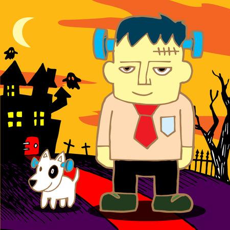 cartoon frankenstein: Cartoon Frankenstein. Vector illustration