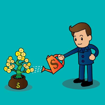 Businessman watering a money tree, illustration Vector