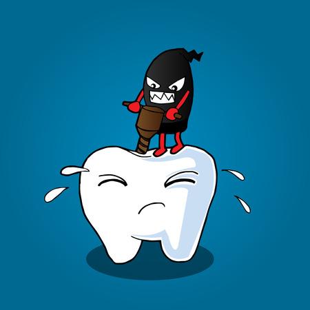 illustration of Cartoon tooth be injured