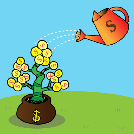 watering a money tree Vector