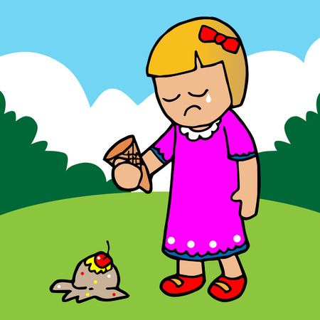 fell: The girl regretted the ice cream falling.illustration Illustration