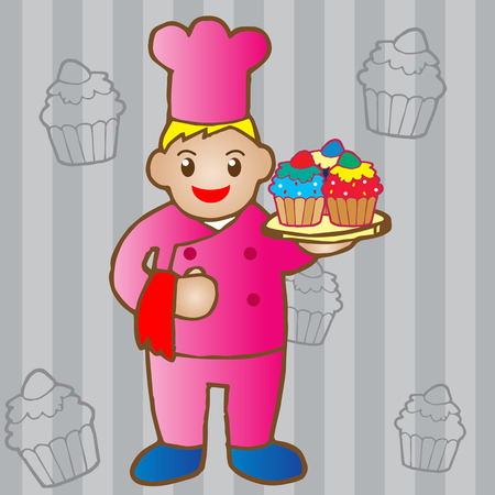 Illustration of chef holding a cupcake Vector