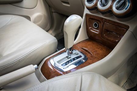 Car interior. Automatic transmission gear shift.