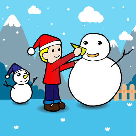 winter fun: Children building snowman. Winter holidays. Winter fun.