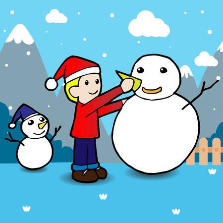 winter fun: Kinderen bouwen sneeuwman. Wintervakanties. Winterpret.