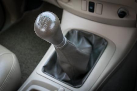 Car interior. manual transmission gear shift. photo