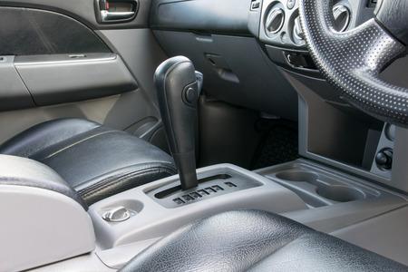 shift: Car interior. Automatic transmission gear shift.