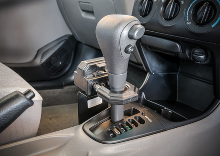 shift: Iron lock on automatic gear shift. Safety Stock Photo