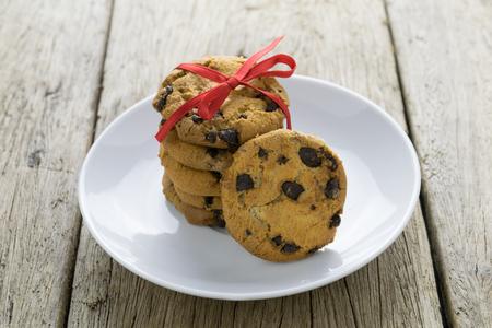 chocolate cookies: cookies on wooden table