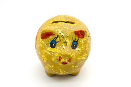 GLOD: gold piggy bank isolated on white background Stock Photo