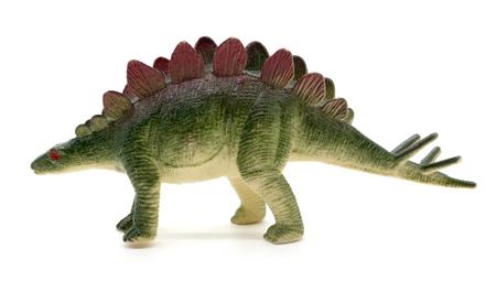 stegosaurus: Stegosaurus dinosaurio de juguete en el fondo blanco Foto de archivo