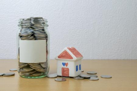 installment: money saving in the glass bottle for money concept