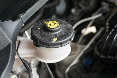 fluid: car maintenance, check the level of brake and clutch fluid Stock Photo