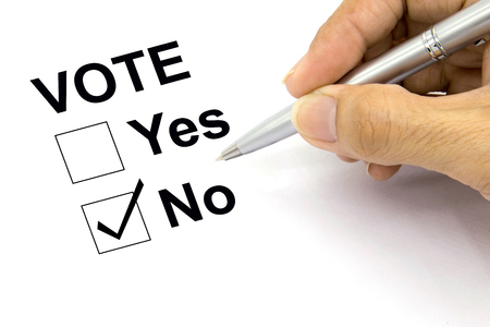 voting: Man Voting no check-box
