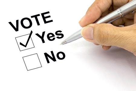 voting: Man Voting yes check-box