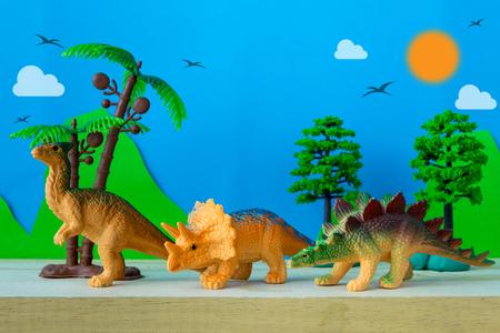 Dinosaur vegetarian on wild models background Stock Photo