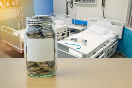 doctor money: Money saving for Health expenses in the glass bottle