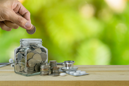 hospital expenses: Savings plans for Healthcare and Medicine, financial concept Stock Photo