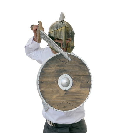 Knight businessman wearing an helm and steel sword. isolated background with clipping path.  Stock Photo