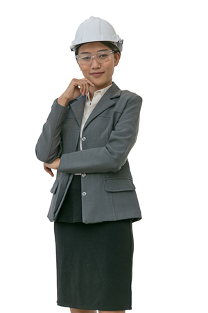 Businesswoman with construction helmet. isolated background with clipping path.