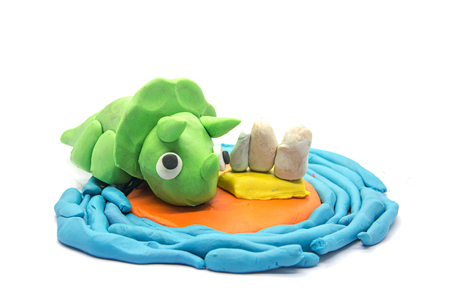 Play dough Triceratops on white background