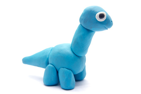 Play dough Brachiosaurus on white background 版權商用圖片