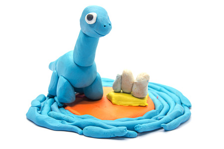 Play dough Brachiosaurus on white background Stock Photo