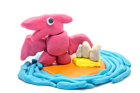 Play dough Pteranodon on white background
