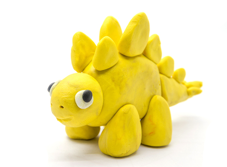 Play dough Stegosaurus on white background Stock Photo