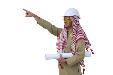 Arab architects isolated background Stock Photo