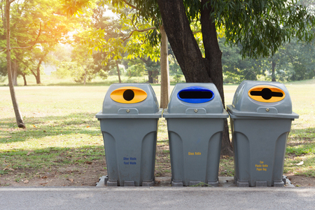 recycle bin in public park  Stock Photo