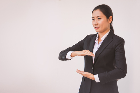 businesswoman outstretched hand for implementation. Concept business Standard-Bild