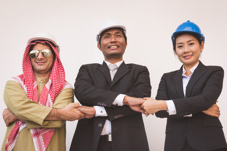 Business team construction engineer architect and worker. teamwork Concept