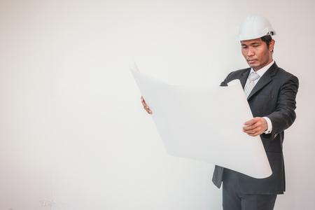 Businessman planning construction project