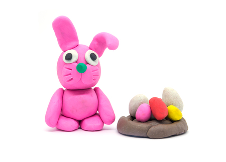 Play dough rabbit on white background