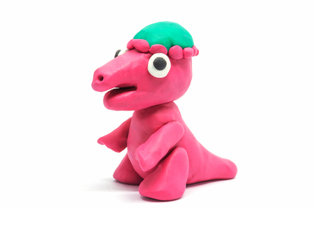 Plasticine Pachycephalosaurus on white background Stock Photo