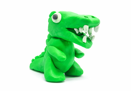 Plasticine Tyrannosaurus on white background