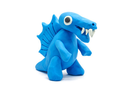 Plasticine Spinosaurus on white background Stock Photo