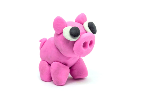 play doh Pig on white background