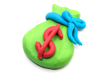 Play dough Money bag on white background