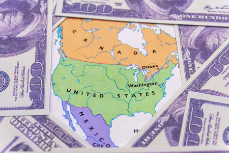 US dollars on the map of American