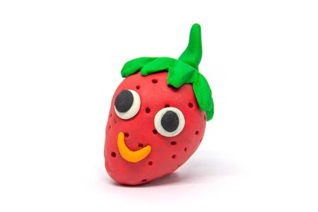 Play dough strawberry on white background Banco de Imagens
