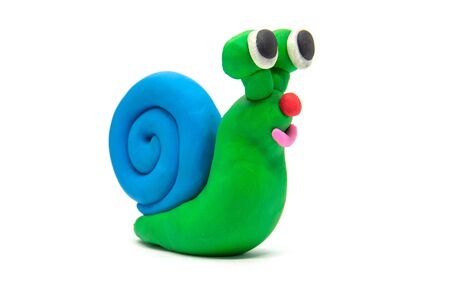Play dough Snail on white background