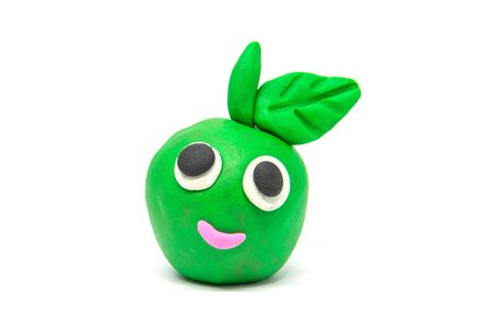 Play dough green apple on white background