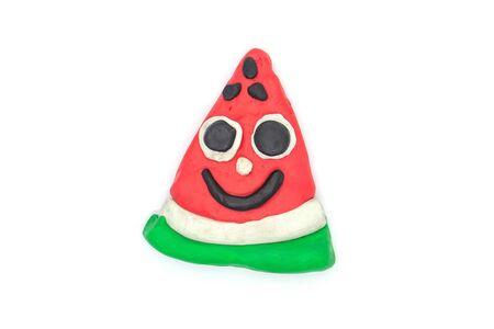 Play dough Watermelon fruit imitation on white background 스톡 콘텐츠