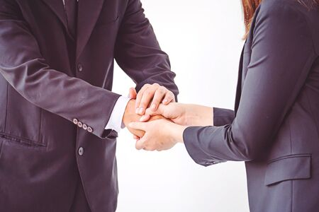 business people coordinate hands. Concept Teamwork