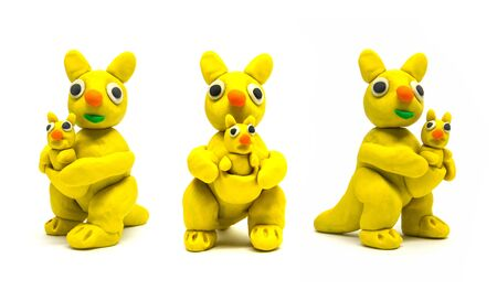 Play dough kangaroo on white background Stockfoto