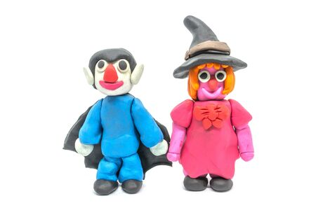 Play dough Dracula and Witch on white background