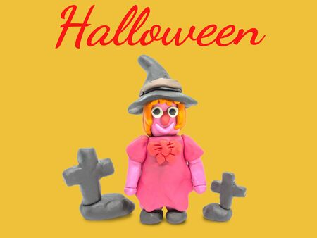 Play dough Witch on white background Stock Photo